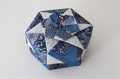 Origami Hexagonal Gift Box - hexagonal origami box with lid 23 part of a set
