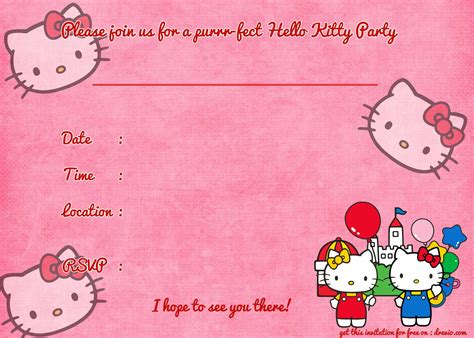 free printable hello kitty birthday invitation template