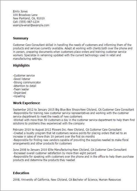Client Service Consultant by Resume For Customer Care