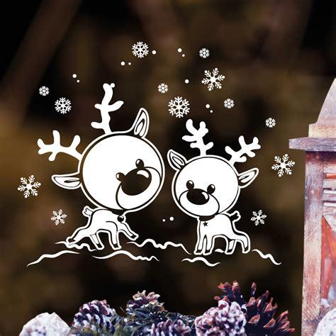 Fensterdeko Weihnachten Schnee by Fensteraufkleber Zwei Elche Im Schnee Fensteraufkleber