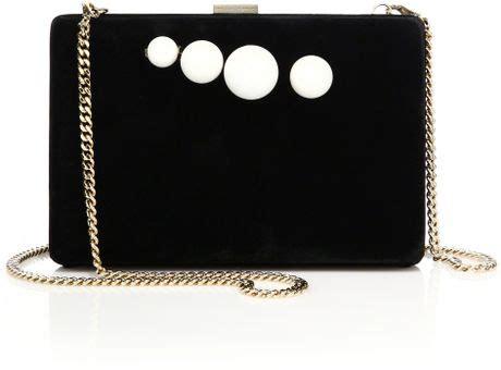 Stella Mccartney Velvet Clutch by Stella Mccartney Faux Pearl Velvet Knuckle Clutch In Black