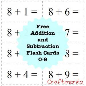 Flashcards For Math Craftiments Free Printable Addition And Subtraction Flash