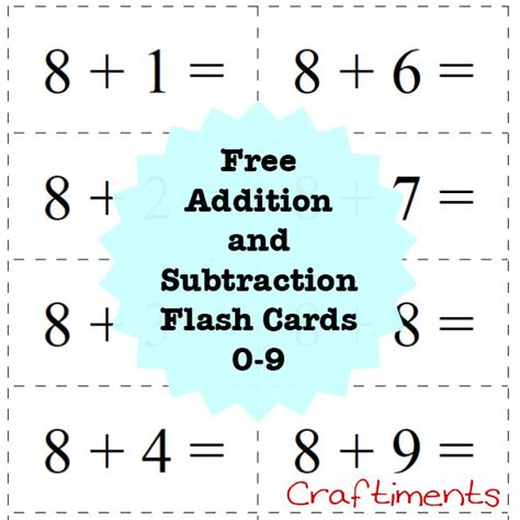 Free Printable Flash Cards Addition And Subtraction | craftiments free printable addition and subtraction flash