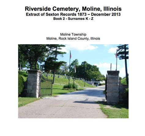 Rock Island County Birth Records Rock Island County Riverside Cemetery Vol 2 K Z Records Rock Island County