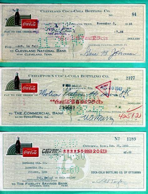 Coca Cola Background Check Usa 24 Different Coca Cola Cheques Checks 1919 1970 S Catawiki