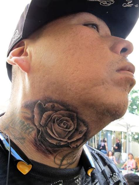 black rose tattoo on neck 43 outstanding roses neck tattoos