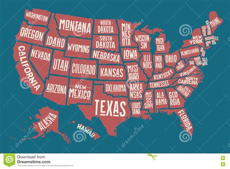poster map united states of america with state names stock vector image 76968043
