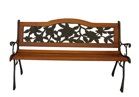metal yard benches rose bloom cast iron park bench w resin back insert for