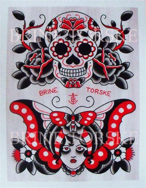 tattoo flash traditional skull sugar skull and gypsy american traditional tattoos