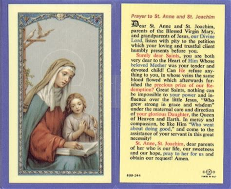 cards with sts sts joachim holy card