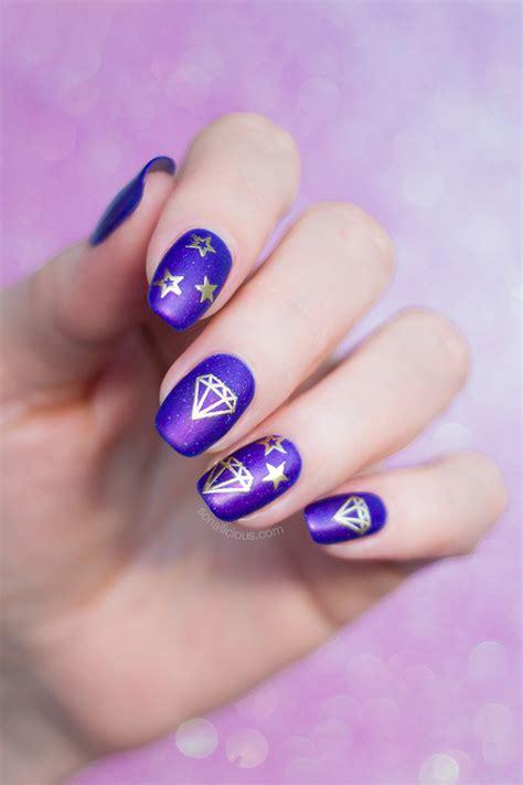 purple nails  diamonds   night