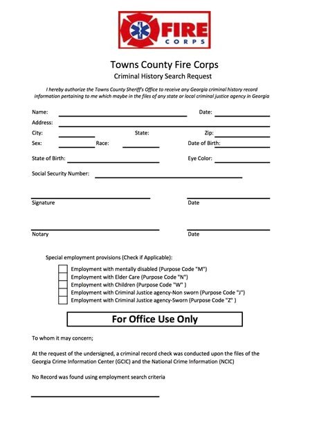 Criminal Record Form Criminal History Search Request Towns County Corp