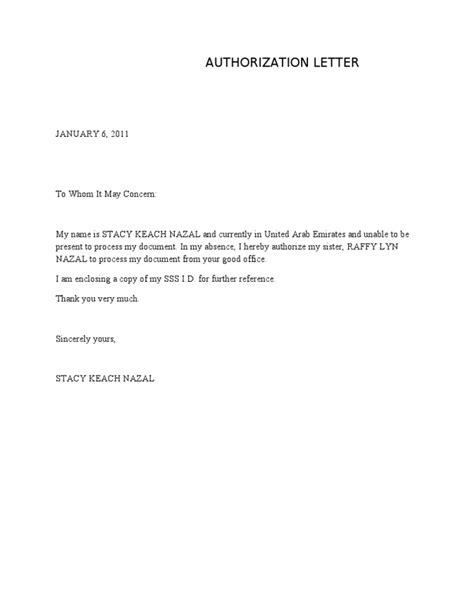 Authorization Letter Template Authorization Letter