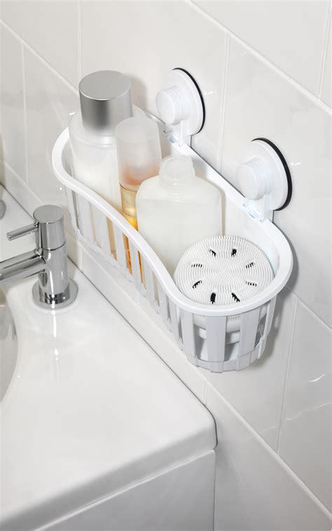beldray plastic suction bathroom shower basket white