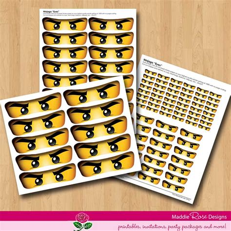 Printable Ninjago Stickers | ninjago eyes instant download for party favors printable