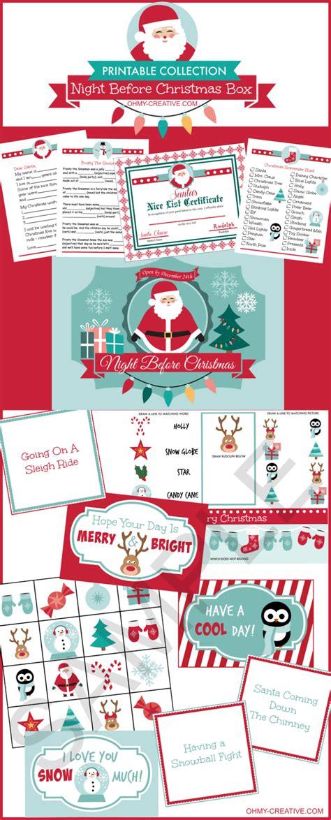 printable christmas eve box night before christmas box printables lunch box notes