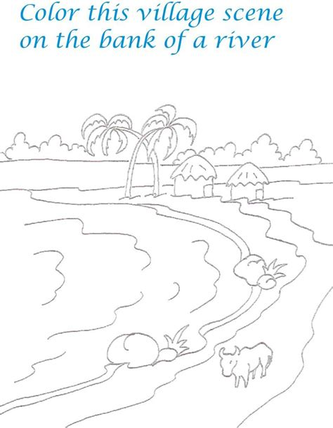 kerala village scenery coloring printable