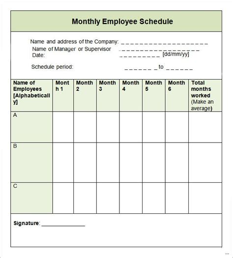 Blank Monthly Work Schedule Template by Monthly Work Schedule Template Applicable Portrait 60 Day