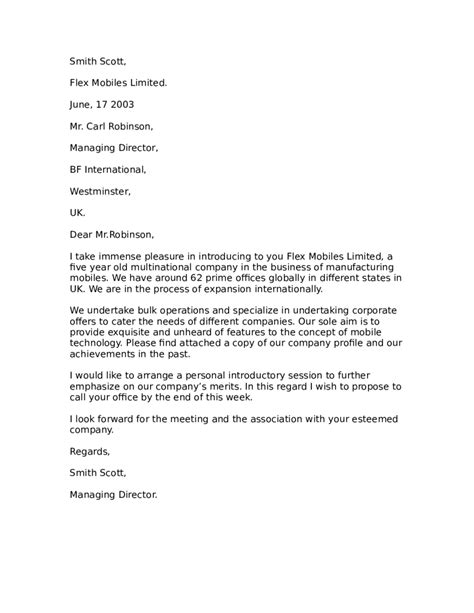 Draft Introduction Letter Company how to draft a business introduction letter cover letter