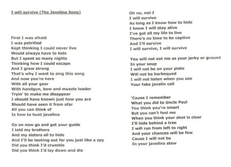 printable lyrics dancing queen abba the javelina hunting song javelina coueswhitetail com