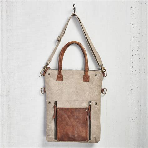 fold convertible tote bag light brown by mona b