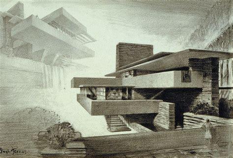 fallingwater architect frank lloyd wright sketch hugh ferriss architecture design process