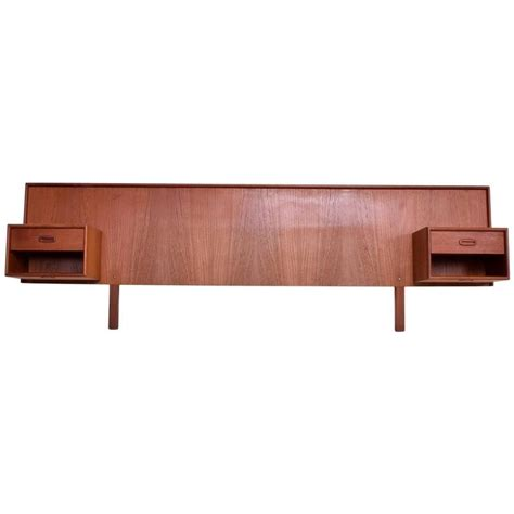 headboard with nightstands mid century danish modern queen teak headboard floating