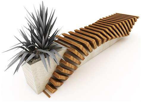 outdoor designer furniture bench with a planter by jui sammartino modern