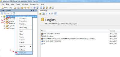 cara membuat query pada sql server 2005 cara membuat atau mengaktifkan user sa di sql server