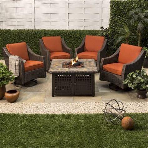 belvedere 5 piece wicker fire pit set for home