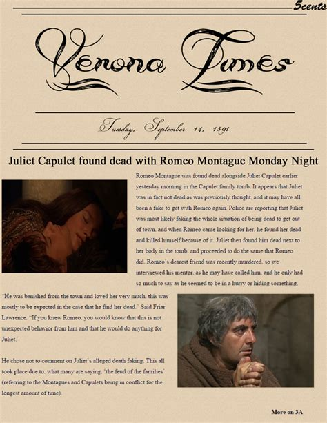 Romeo And Juliet News Report Essay by Newspaper Article Romeo And Juliet Durdgereport492 Web Fc2