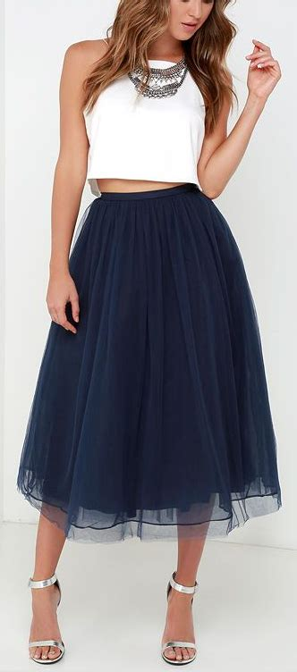 Blue Tulle Intresse give it a twirl navy blue tulle midi skirt fashionista