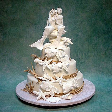 Sea Decorations For Home 3 tier mermaid couple wedding cake nature wedding cakes