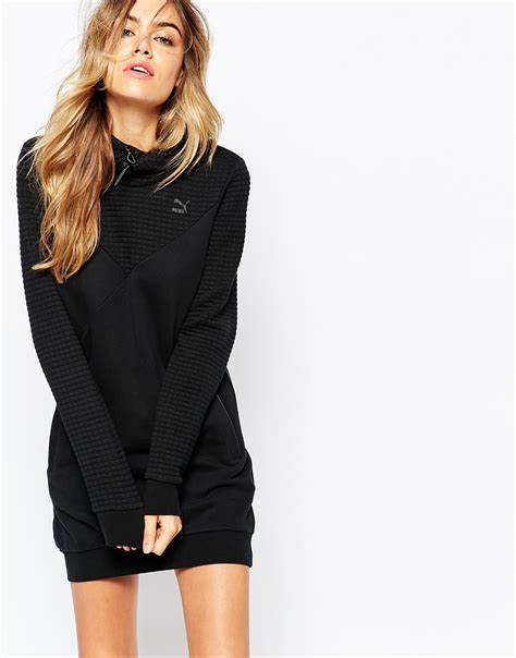 Dress Hoddy lyst quilted hooded sweatshirt dress in black