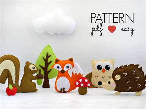 Pattern For Felt Animals | baby mobile pattern felt animal sewing pattern woodland