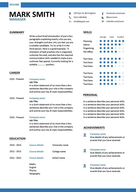 cv templates for it managers management cv template managers jobs director project