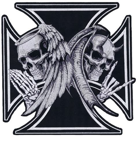 large iron cross death devil skull amp angel skull