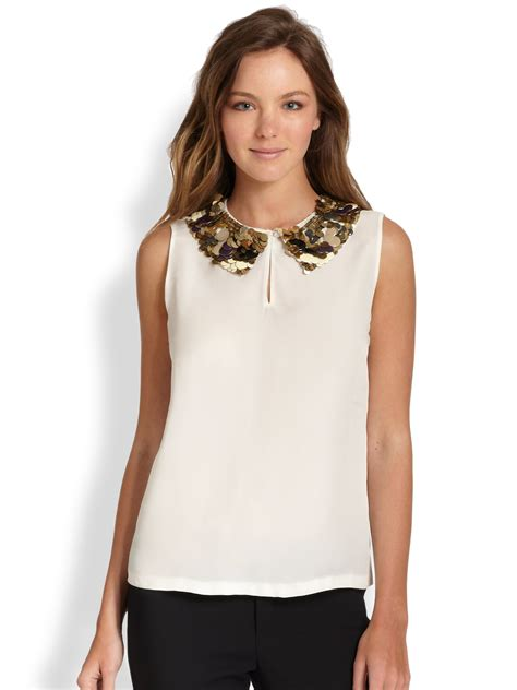 White Black Collar Set Toppants lyst raoul embellished collar top in white