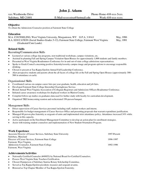 College Application Resume Sle by College Admissions Counselor Resume Sales Counselor