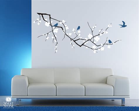 wall vinyl cherry blossom tree branch wall decal with birds vinyl wall
