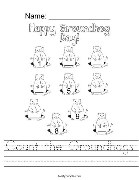 groundhog day kindergarten worksheets count the groundhogs worksheet twisty noodle