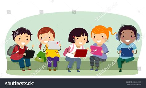 imagenes de niños jugando tablet illustration of stickman kids with tablet computers at