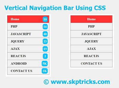top navigation bar css vertical navigation or menu bar using css