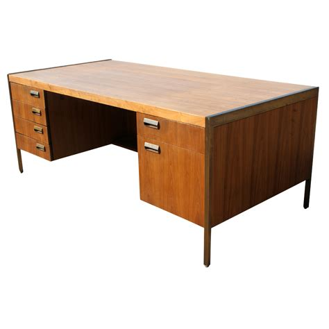 6ft mid century modern bronze frame wood desk ebay