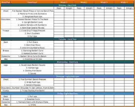 6 Workout Schedule Template Divorce Document Workout Schedule Template
