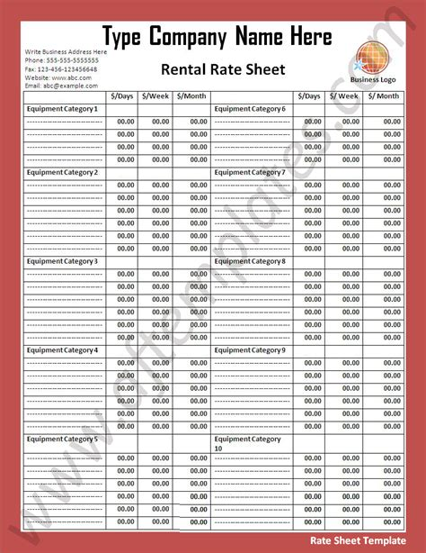 rate sheet template all free templates excel word