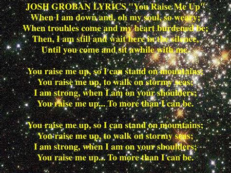 Raise Me Up Letra you raise me up