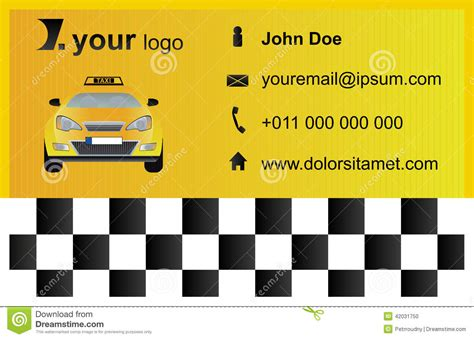 eps format size taxi business card template stock vector image 42031750