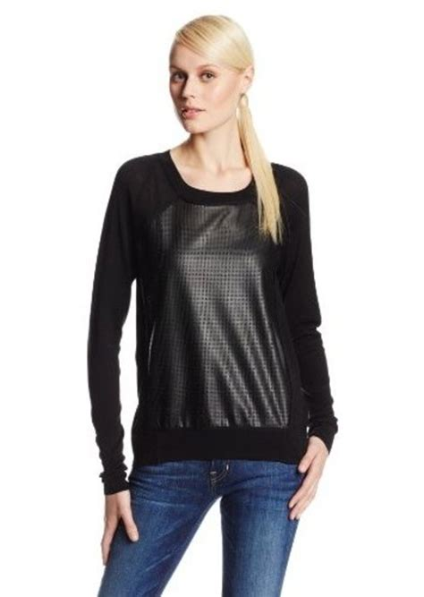 Sweater Ck T1310 3 calvin klein calvin klein s sleeve faux leather front sweater sweaters shop it to me