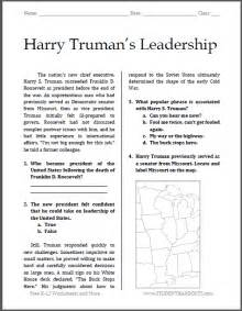 harry truman s leadership reading with questions